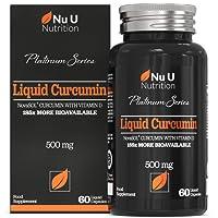 Cápsulas de Cúrcuma Curcumina (Líquidas) con Vitamina D, 185 Veces Más Biodisponibilidad Curcumina NovaSOL®, Curcuma Curcumina Líquida Vegetariana de Calidad Superior de Alta Potencia