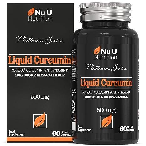 Cápsulas de Cúrcuma Curcumina (Líquidas) con Vitamina D | 185 Veces Más Biodisponibilidad Curcumina