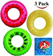 JOYIN Inflatable Tube Raft (3 Pack) with Summer Fruits Painting Toys for Swimming Pool Party Decorations