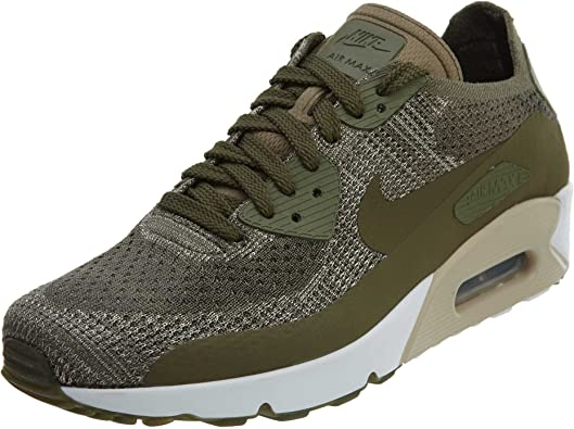 Nike Mens Air Max 90 Ultra 2.0 Flyknit, Medium Olive, 9 D(M) US