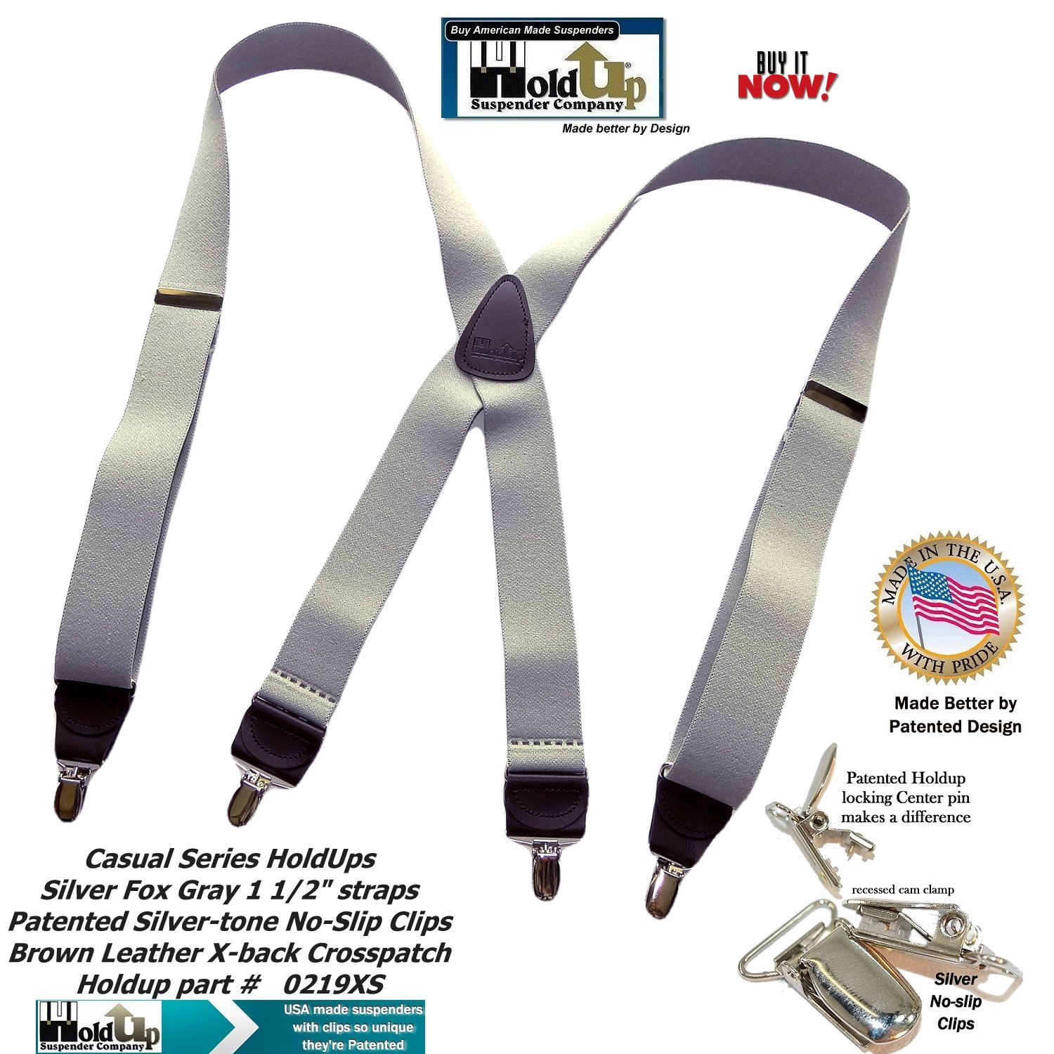 HoldUp Brand Silver Fox Gray X-back Suspenders are 1 1/2'' Wide with patented No-slip Silver-tone Clips by Hold-Up Suspender Co. (Image #5)