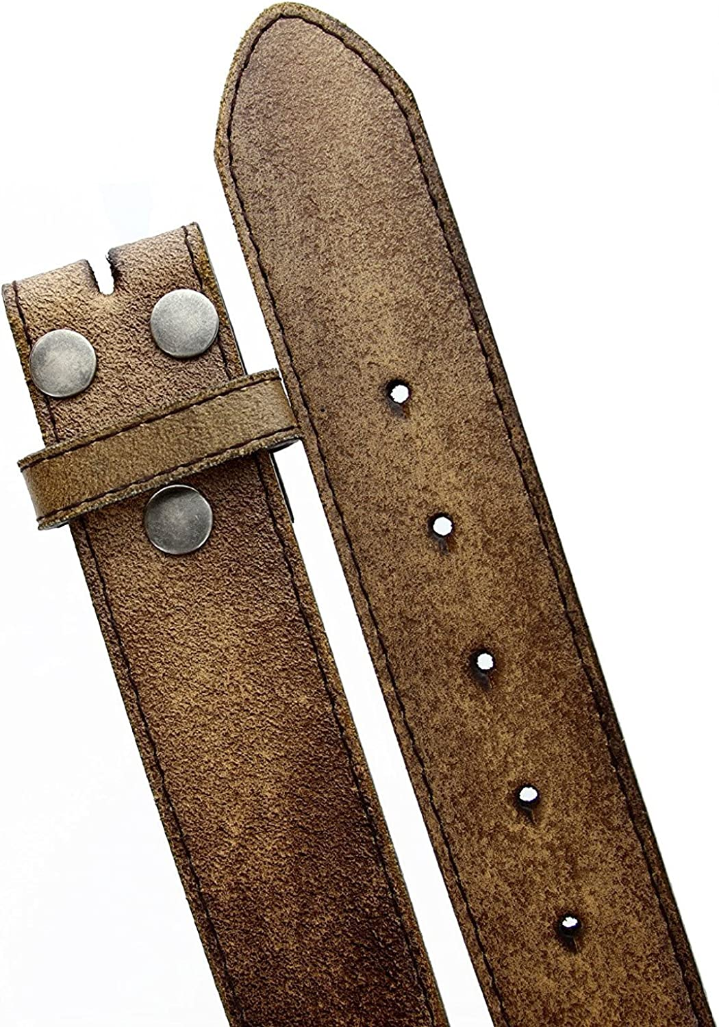Hagora Men Worn Out Look 1.5 Wide Bonded Leather Jeans Belt Strap No Buckle