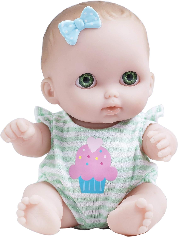 JC Toys Lil Cutesies All Vinyl Washable Doll Baby Doll, Green Eyes Bibi