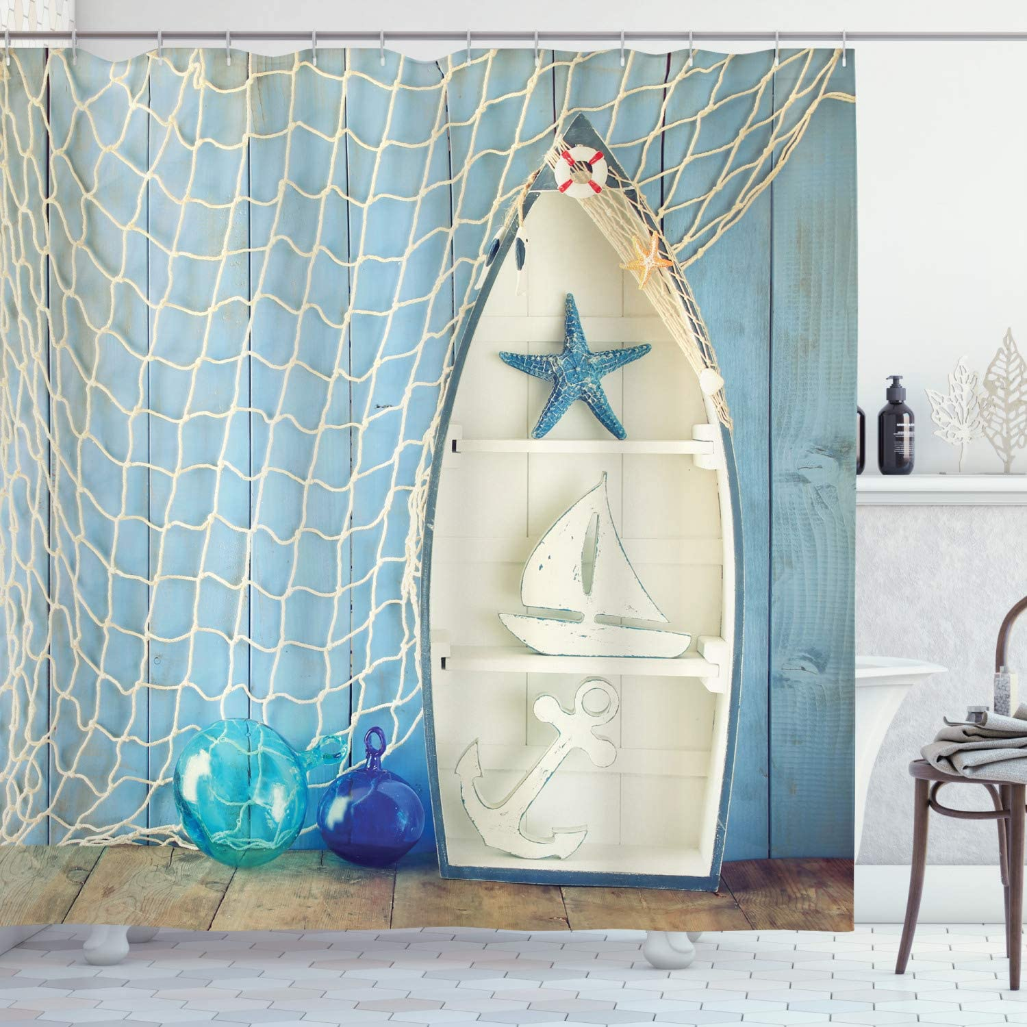 """Ambesonne Nautical Shower Curtain, Sea Objects on Wooden Backdrop with Vintage Boat Starfish Shell Fishing Net Photo, Cloth Fabric Bathroom Decor Set with Hooks, 75"""" Long, Blue Cream"""