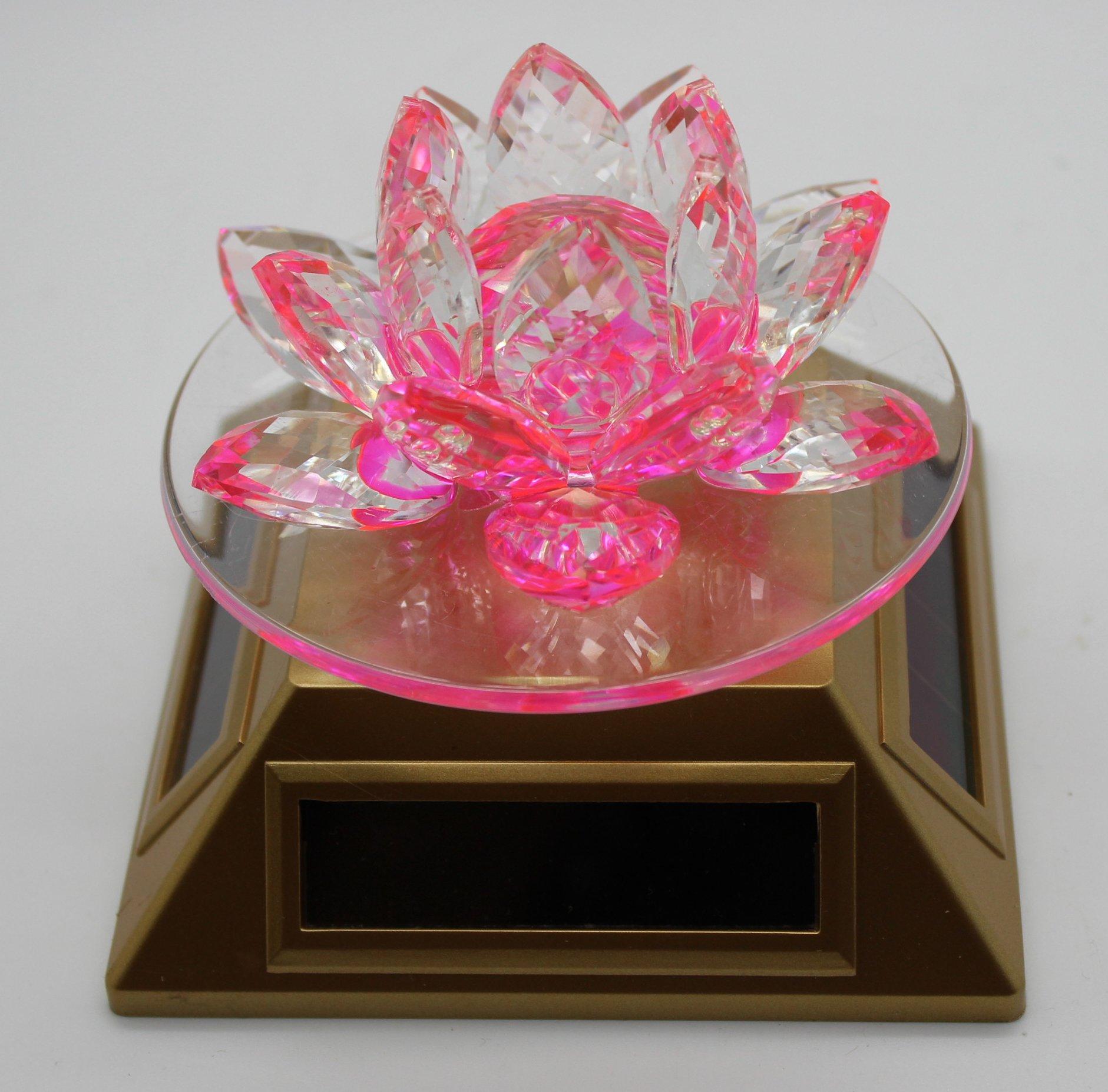 Lotus Crystal Flower - Solar Powered - Pink
