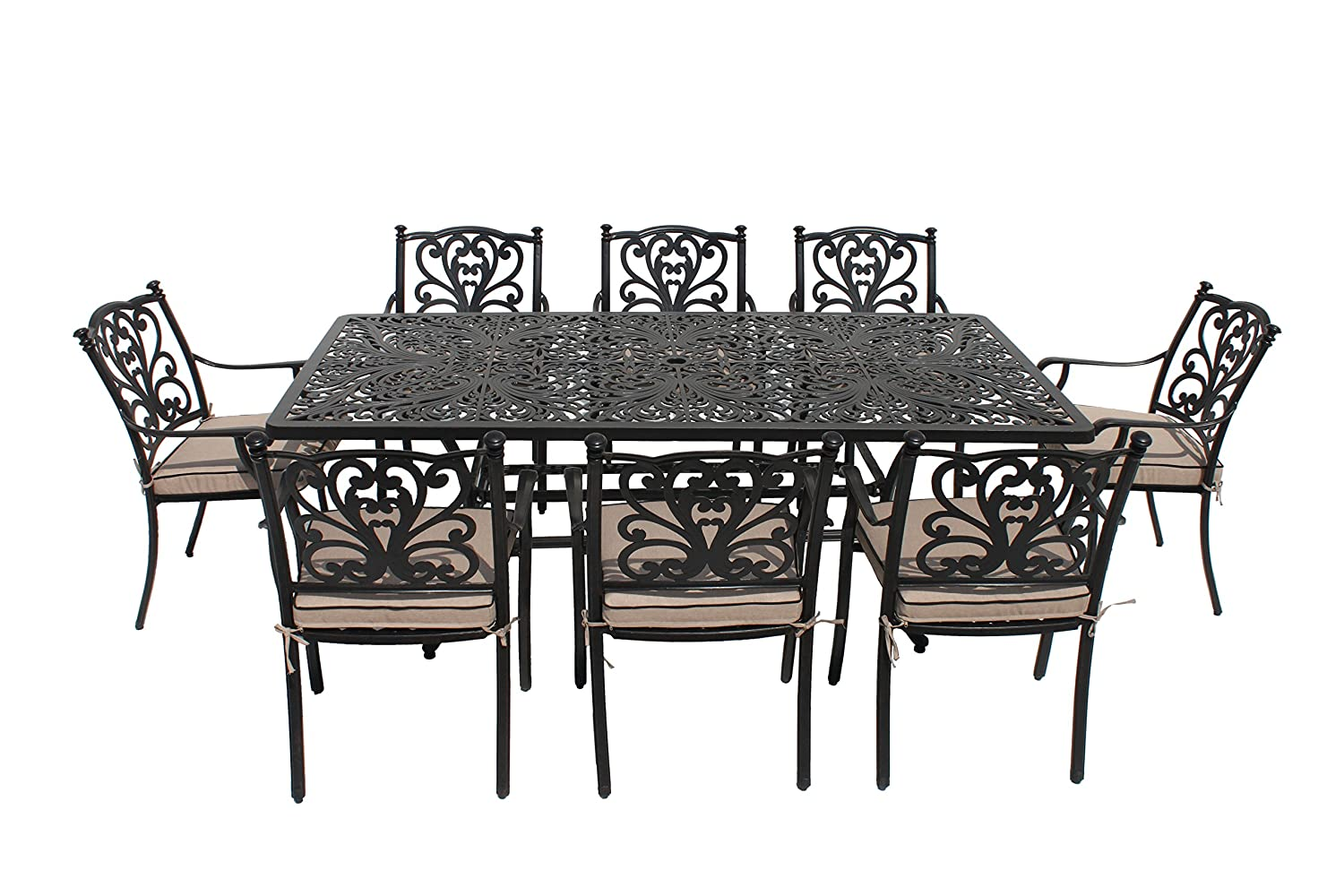 2d768e021e5c LG Outdoor Devon 105cm Round 4 Seat Dining Set With Blended Beige Cushions  - Bronze: Amazon.co.uk: Garden & Outdoors