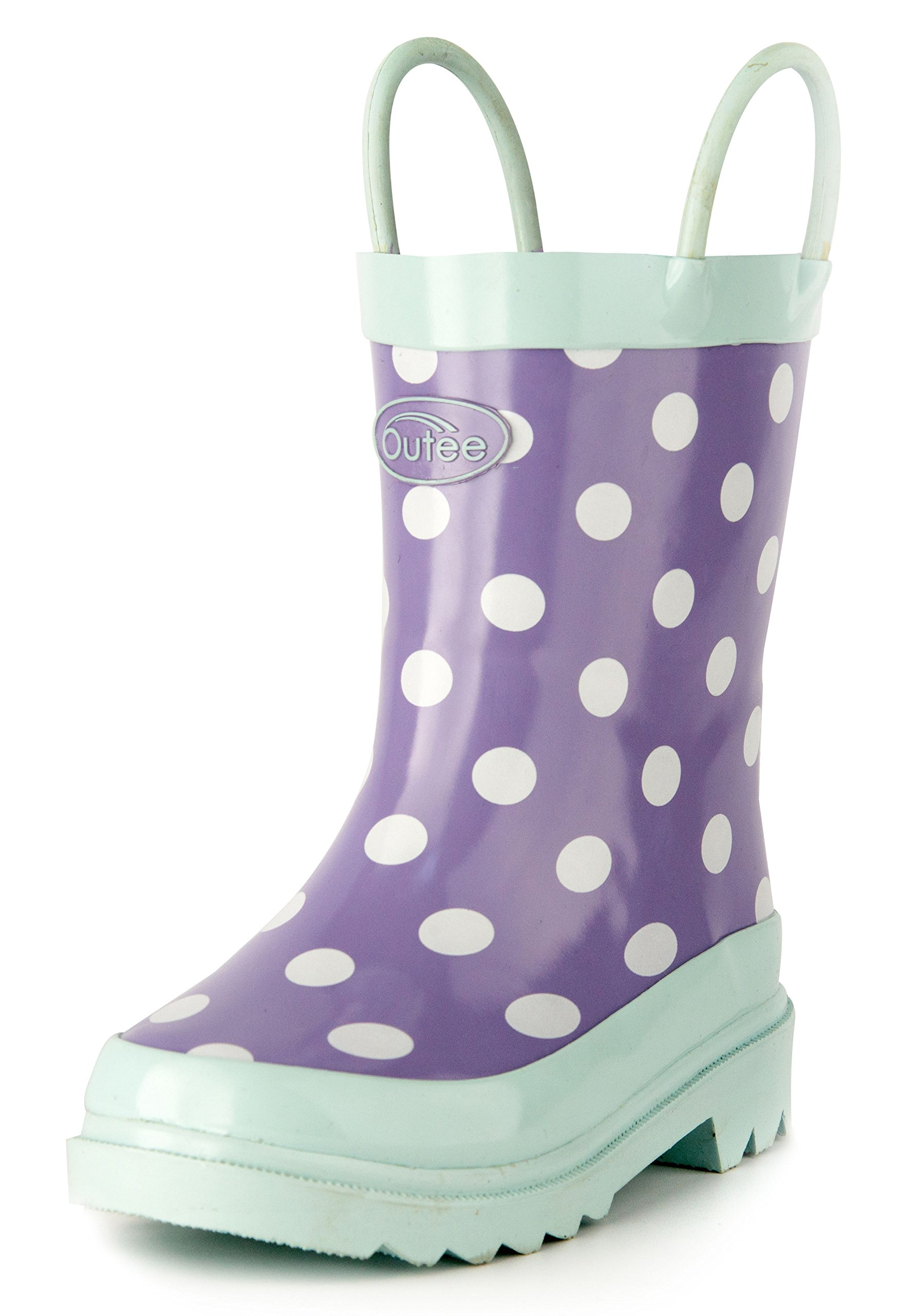 Outee Toddler Girls Kids Rain Boots Rubber Purple Waterproof Shoes Polka Dots Cute Print with Easy-On Handles Classic Comfortable Removable Insoles Anti-Slippery Durable Sole with Grip (Size 5,Purple)