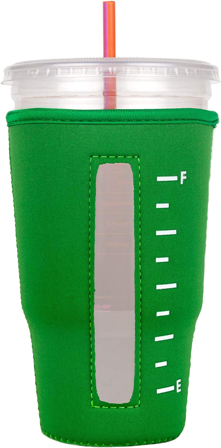 Insulated Neoprene Cup Sleeve/Holder for Iced Beverages, Coffee, and Tea (Green, Large)