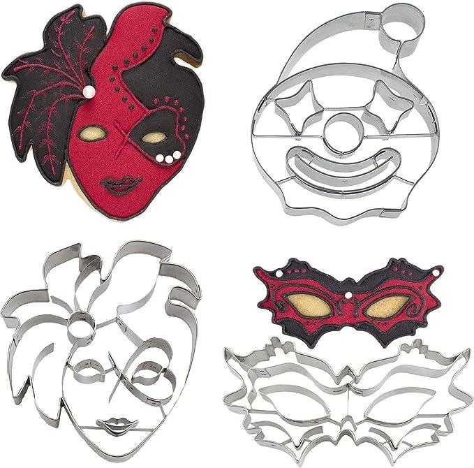 maschera veneziana 10 cm, testa di clown 8 cm, maschera 10,5 cm Yagma Carnevale Set 3 pezzi Formine per biscotti