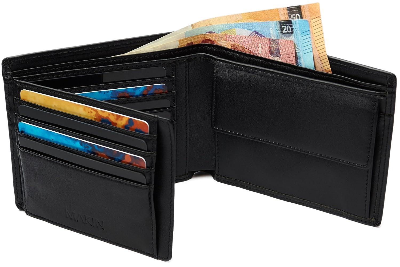 108a823ab56 Klassischer Herren Geldbeutel mit Münzfach und RFID Schutz – Große Männer  Geldbörse im Querformat – Geräumiges
