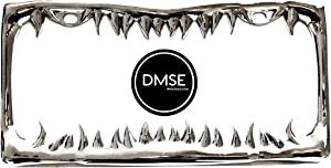 DMSE Universal Metal Shark Tooth Teeth Jaws License Plate Frame Cool Design For Any Vehicle (Chrome)