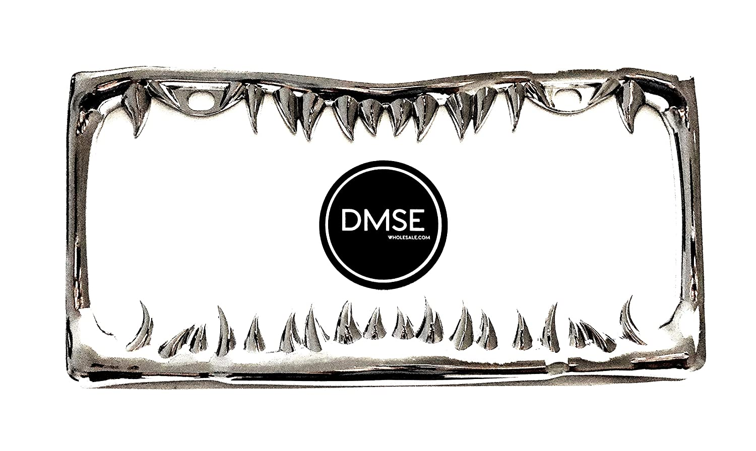 DMSE Universal Metal Shark Tooth Teeth Jaws License Plate Frame Cool Design For Any Vehicle Black Sharks Tooth