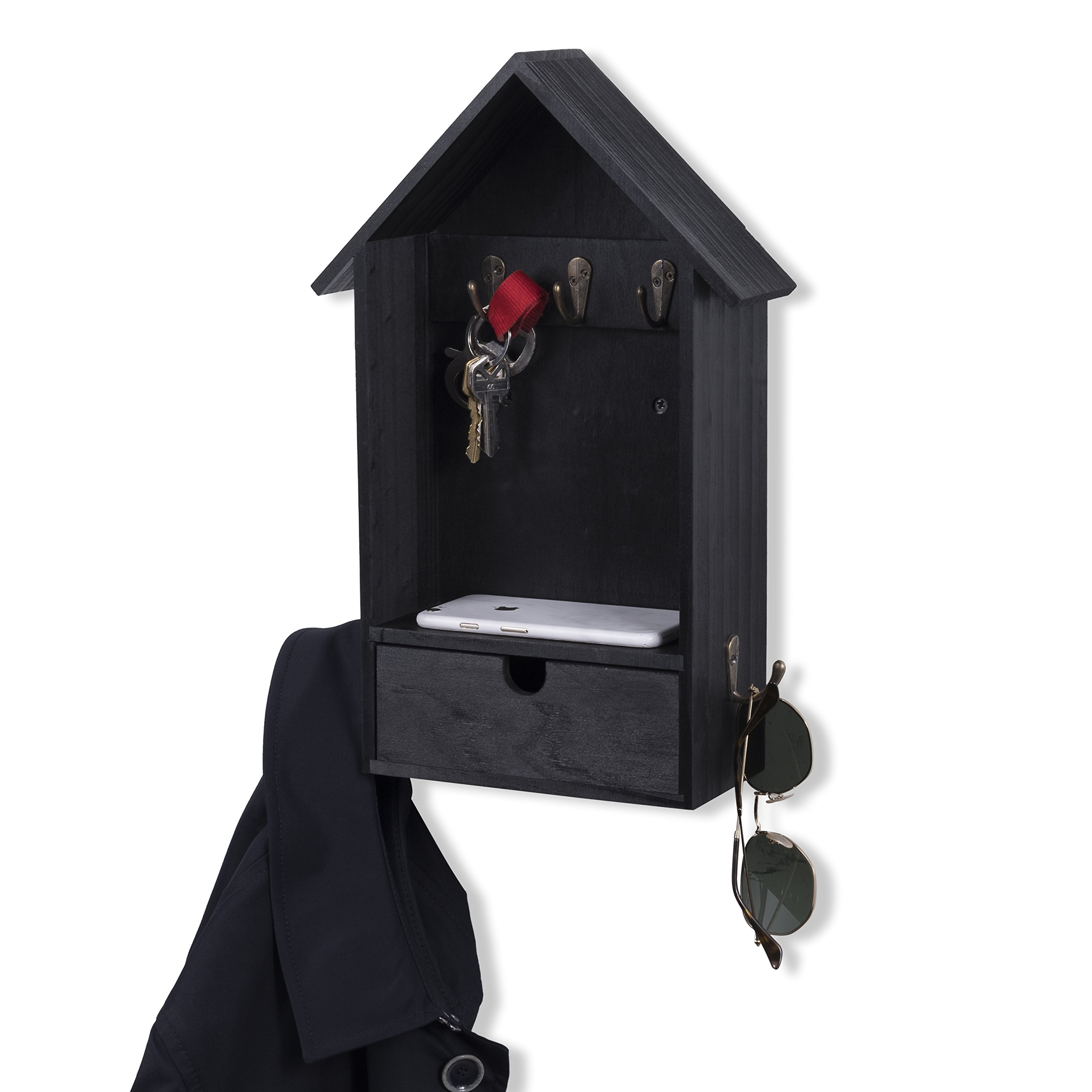 House Shape Unique Design Wall Mount Entryway Organizer Key and Coat Rack (Black) by Brightmaison (Image #2)