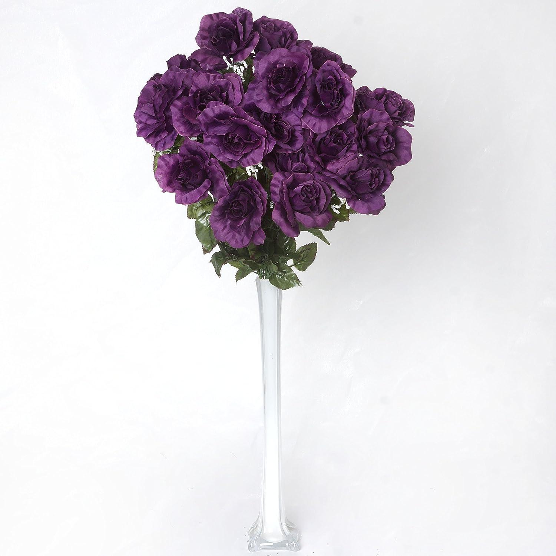Amazon Balsacircle 96 Eggplant Purple Silk Giant Open Roses 4