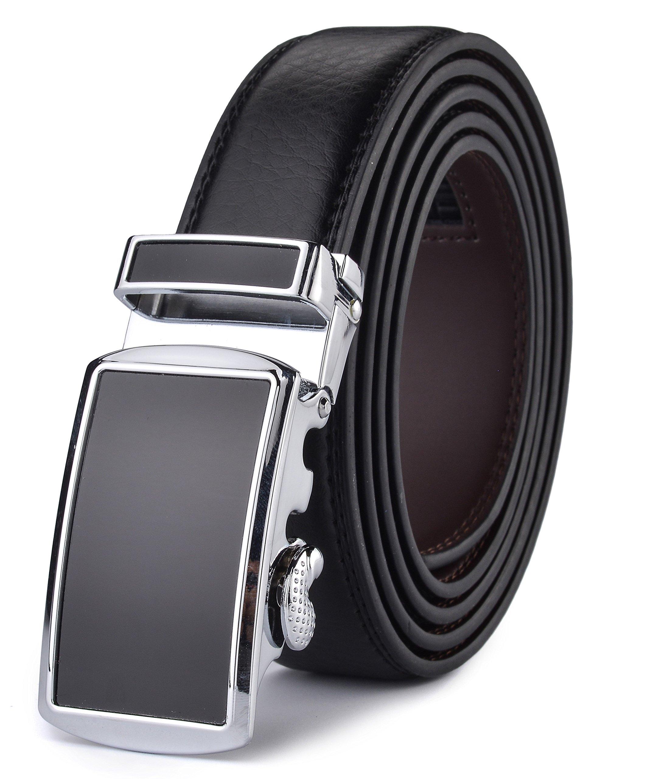 Men's Belt,HW Zone Automatic Slide Ratchet Belt for Men with Genuine Leather 1 1/8,Trim to Fit