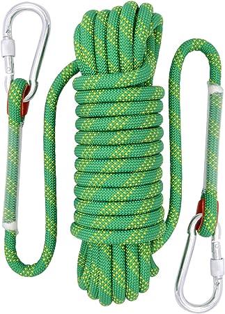 Fding Cuerda de Escalada de Roca, 12 mm de diámetro, Accesorios de Senderismo para Exteriores, Cuerda de Seguridad de Alta Resistencia (10 m, 32 pies) ...