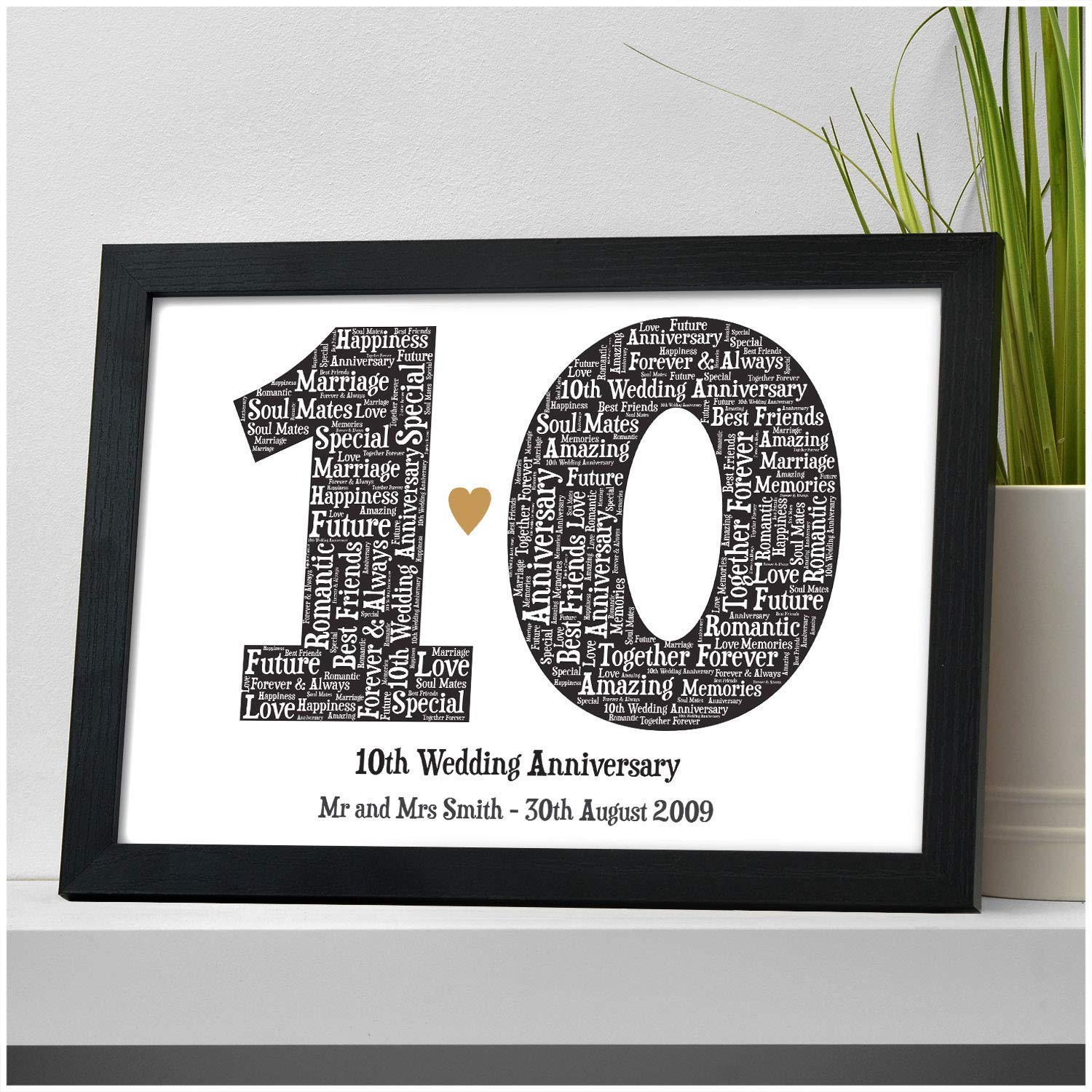 Personalised 10th Wedding Anniversary Gifts For Him Her 10th Anniversary Print Presents 10 Years Married Gifts For Husband Wife Son Daughter Married Couple Surname Gifts For Couples Amazon Co Uk Handmade