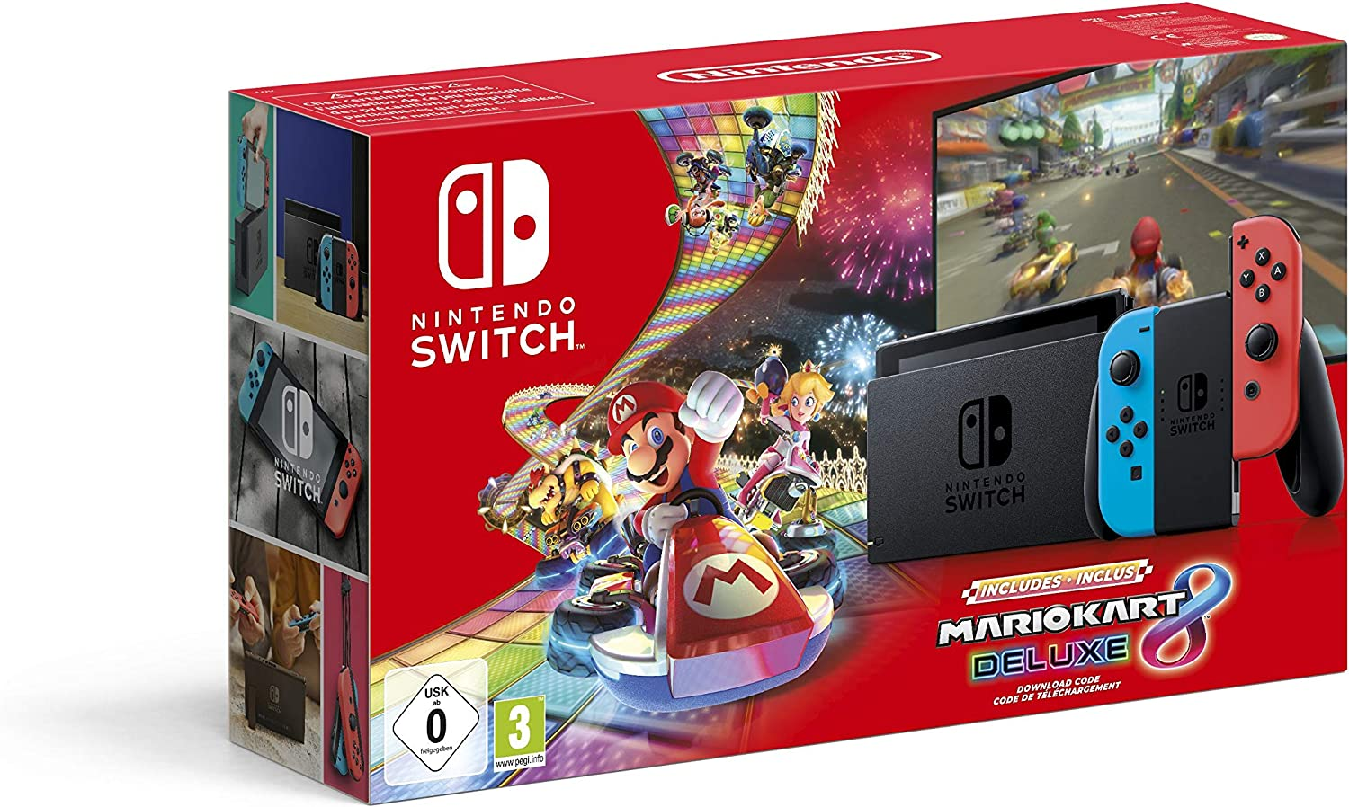Nintendo Switch (Neon Red/Neon Blue) with Mario Kart 8 Deluxe ...