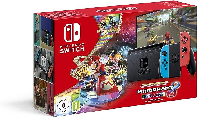 Nintendo Switch (Neon Red/Neon Blue) with Mario Kart 8 Deluxe - Limited Edition Bundle [Importación inglesa]: Amazon.es: Videojuegos