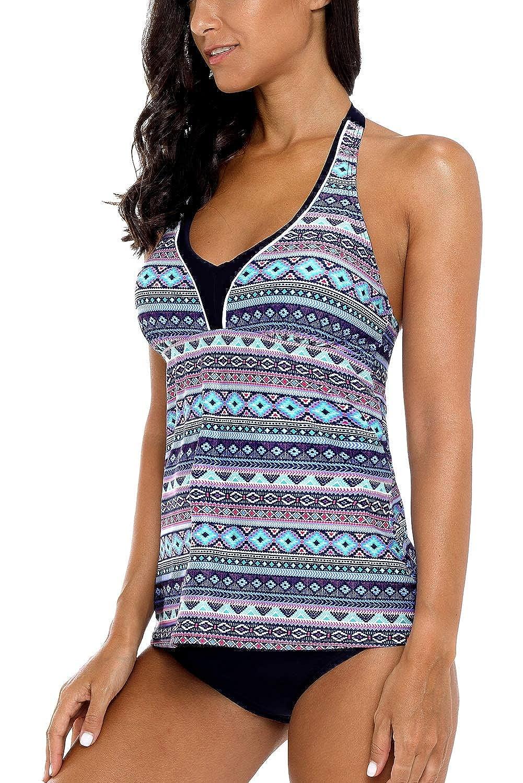 Vegatos Womens Halter Tankini Swimsuit Backless Swimwear Two Piece Bathing Suit