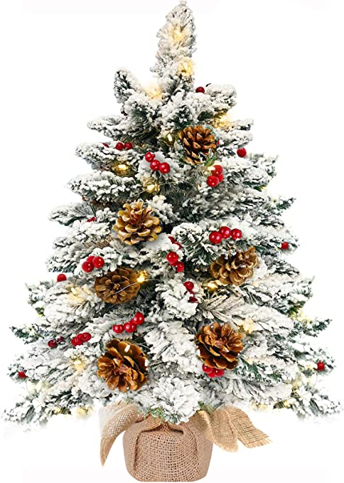 Lit Battery Decoration Berry Brown White Table Top Xmas Twig Tree 60cm 24 LED