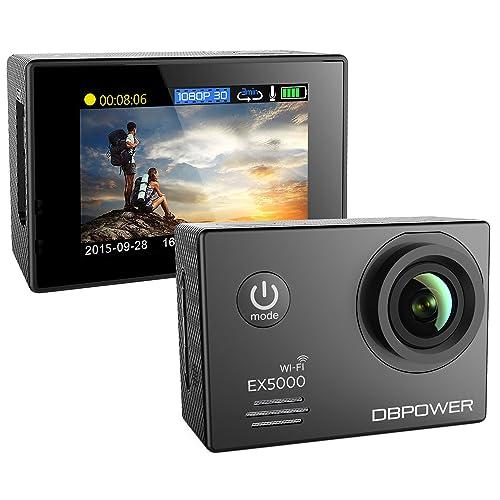 DBPOWER Authentique Action Camera et de Sport Étanche EX5000 WIFI 14MP Full HD avec 2 Batteries Améliorées et Accessoires Gratuits