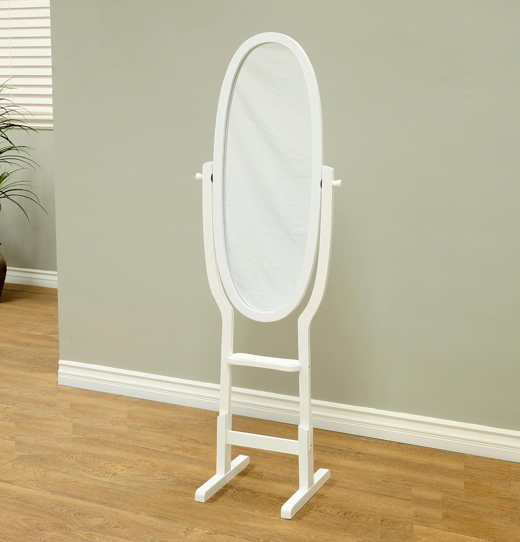 Frenchi Home Furnishing Oak Cheval Mirror, Adjustable Full-Length Oval Mirror JW200-O 979