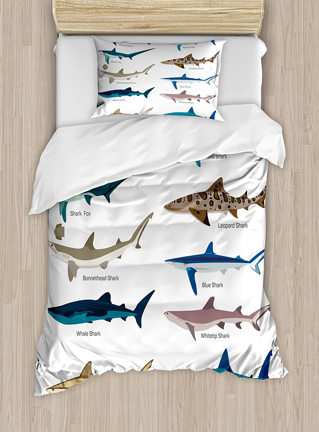 Ambesonne Shark Duvet Cover Set Twin Size, Types of Sharks Pattern Whaler Piked Dogfish Whlae Shark Maritime Design Nautical, Decorative 2 Piece Bedding Set with 1 Pillow Sham, Blue Tan