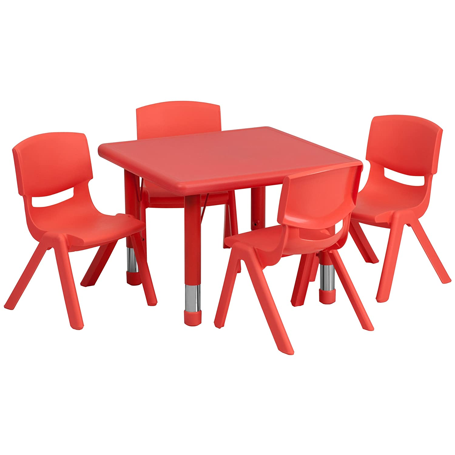 Flash Furniture 24'' Square Red Plastic Height Adjustable Activity Table Set with 4 Chairs