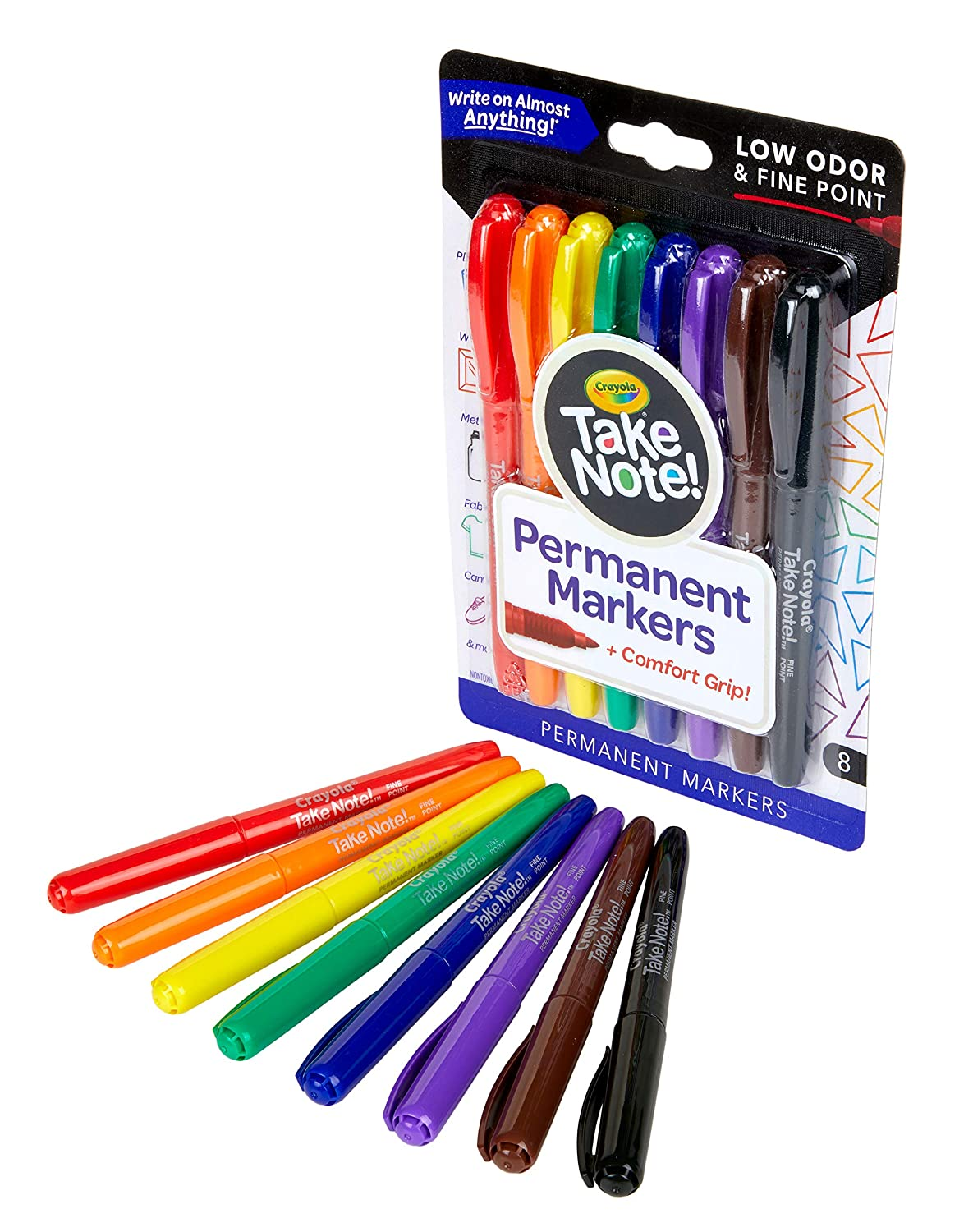 Crayola Take Note Permanent Markers, Fine Point, Assorted Colors, School Supplies, 8 Count