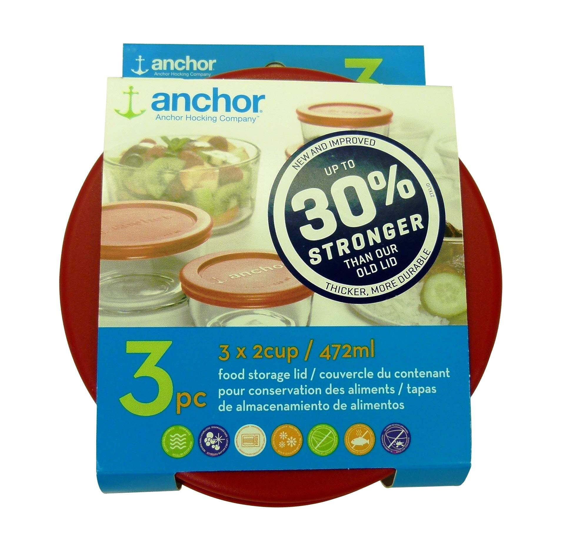 Anchor Hocking Improved 30% Stronger Replacement Lid 2 Cup / 472 ml / 0.5 qt, Set of 3 lids, red Round by Anchor Hocking