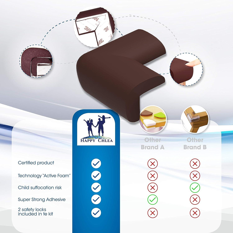 Protecteurs dAngle de S/écurit/é pour Enfants Protection Maison avec TechnologieActive Foam HAPPY CHLEA/® Coin de Table Protection B/éb/é CADEAU 2 S/écurit/é Placard Enfants