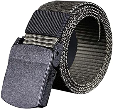 Gemini_mall® Mens Military Style Long Plain Webbing Canvas Belt Automatic Buckle