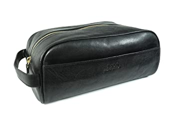 2767c485318c Amazon.com   Polo Ralph Lauren Mens Travel Toiletry Lavatory Accessory Bag Leather  Black Gold   Beauty