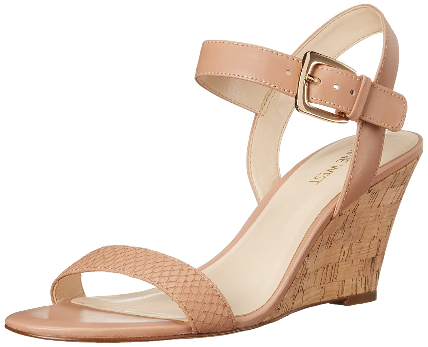 Nine West Women's Kiani Leather Wedge Sandal B017MOJ340 11 B(M) US|Natural/Natural