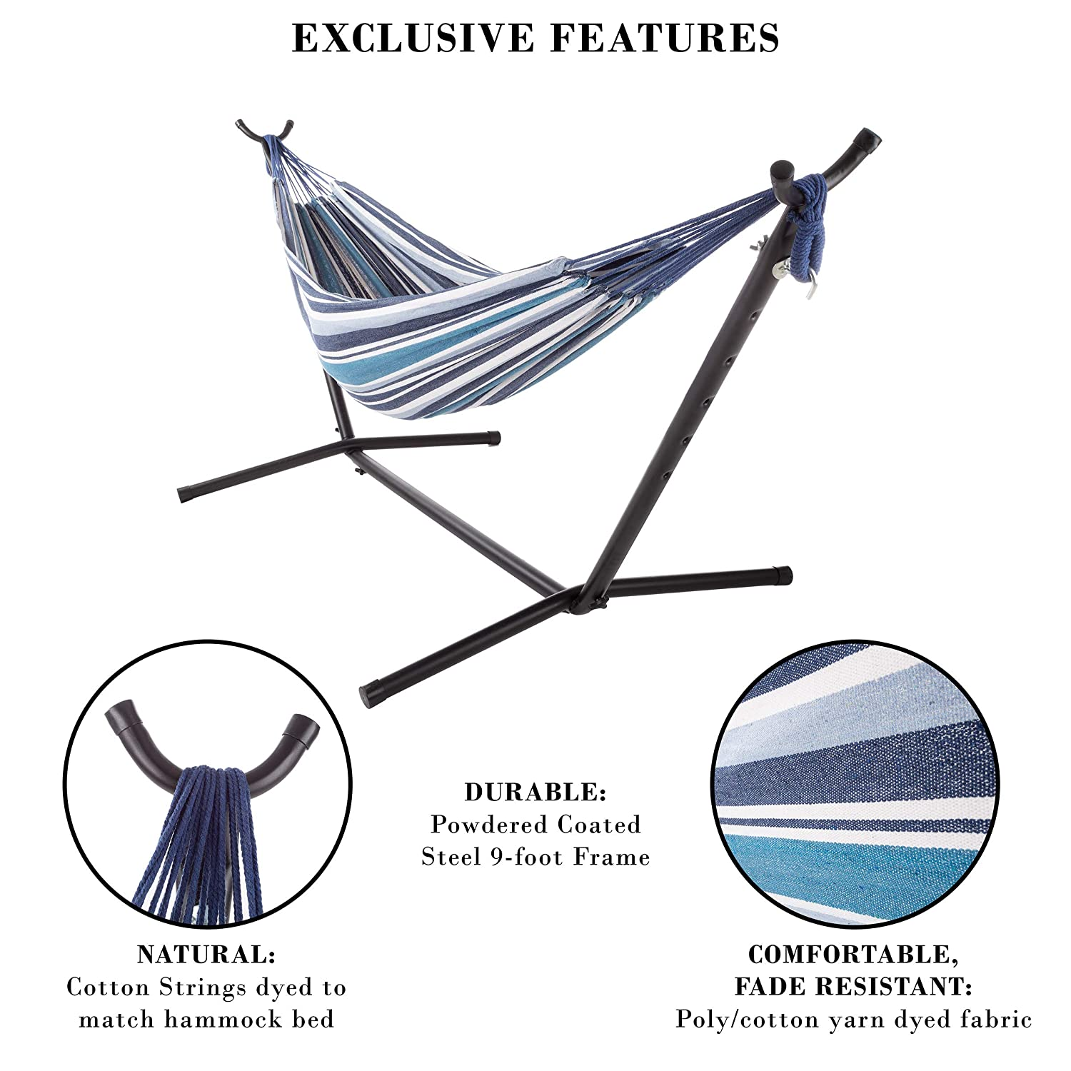 Pure Garden 10 LG10 Double Brazilian Hammock with Stand– ...