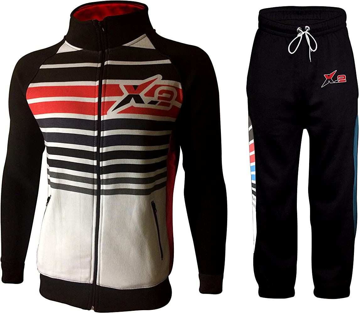 8e6eb4eddea25 Mens Athletic Full Zip Fleece Tracksuit Jogging Sweatsuit Activewear