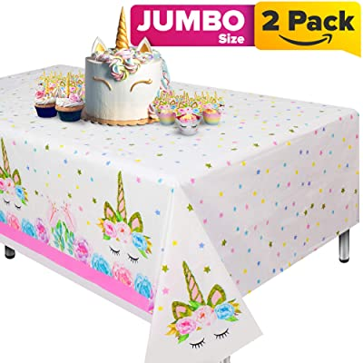 "Unicorn Tablecloth, Set of 2 Unicorn Table Cloth for Birthday Party, Extra-Large 108""x54"" Disposable Table Cover, Ideal Party Supplies for Unicorn Themed Baby Shower and Birthday Decoration for Girls: Kitchen & Dining"