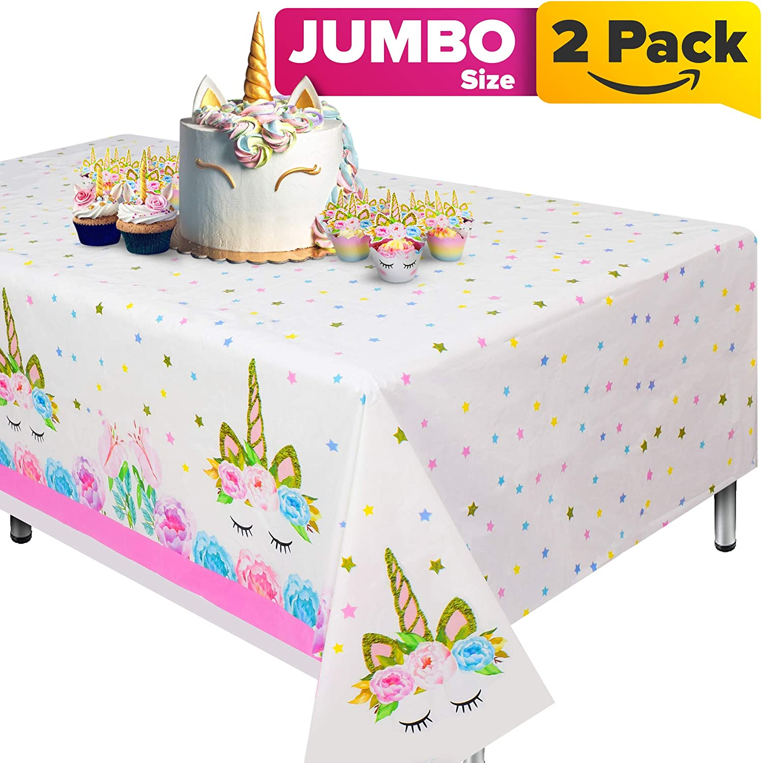 """Unicorn Tablecloth, Set of 2 unicorn table cloth for birthday party, Extra-Large 108"""" x 54"""" Disposable Unicorn Table Cover, Ideal Party Supplies for Unicorn Themed Baby Shower Decorations and Unicorn Birthday Decoration for Girls"""