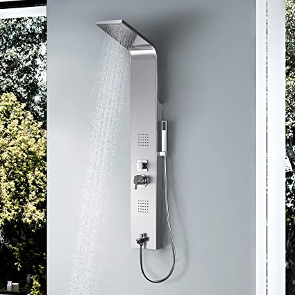 Original Brushed Nickel Finish Massage Jet Tankless Rainfall Shower Tower Bathroom Rainfall Shower Panel Thermostatic Spout Shower Column Shower Equipment