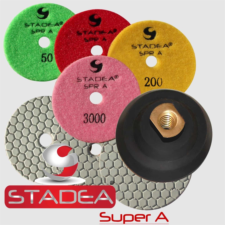 STADEA 4'' Dry Diamond Polishing Pads for granite Marble Concrete Stone Granite Tile Polishing Kit - 5 Pcs Pads, 1 Rubber Backer (5/8'' 11) Set
