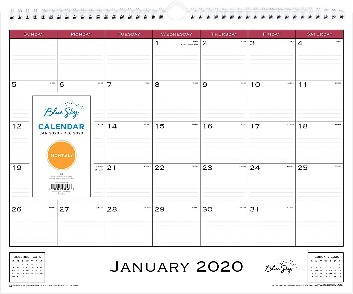 """Blue Sky 2020 Monthly Wall Calendar, Twin-Wire Binding, 15"""" x 12"""", Classic Red"""
