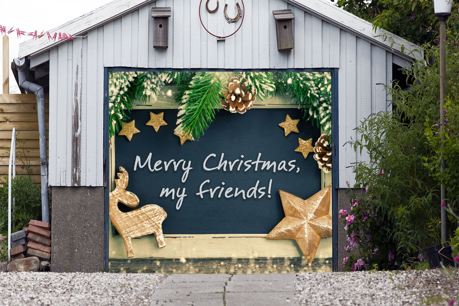 Merry Christmas Garage Holiday Banner Door Cover for SINGLE CAR GARAGE DOOR MURALS Covers Outdoor Decor Billboard Full Color 3D Effect Print Decorations of House Size 83 x 96 inches DAV115