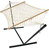 Sunnydaze Cotton Rope Double Hammock with Stand and Wood Spreader Bar, 2 Person, 350 lb Weight Capacity