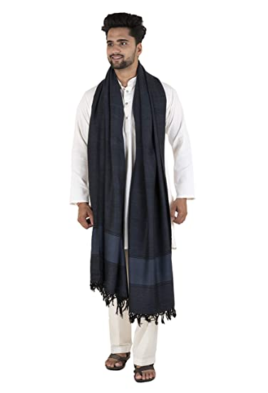 Tribes India Men's Handwoven Sheep Wool Shawl (Free Size)