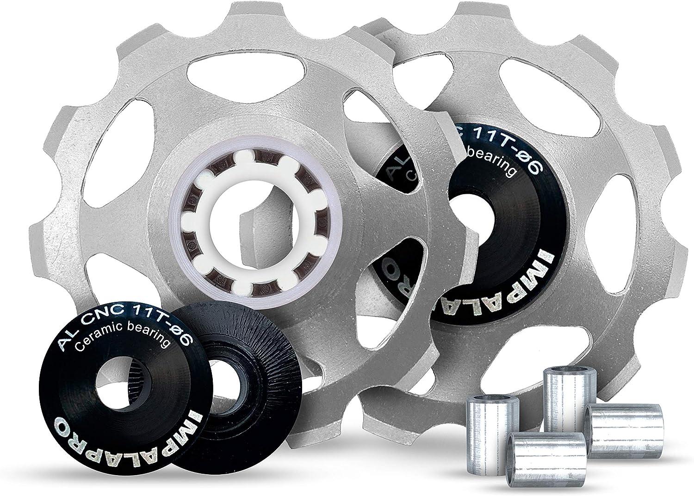 IMPALAPRO Bike Set 2Roldanas, Ruedas o poleas Jockey (11T) Cambio o desviador Trasero Aluminio CNC ultraligeras y Resistentes con rodamiento cerámica para Bici montaña (MTB) o Carretera