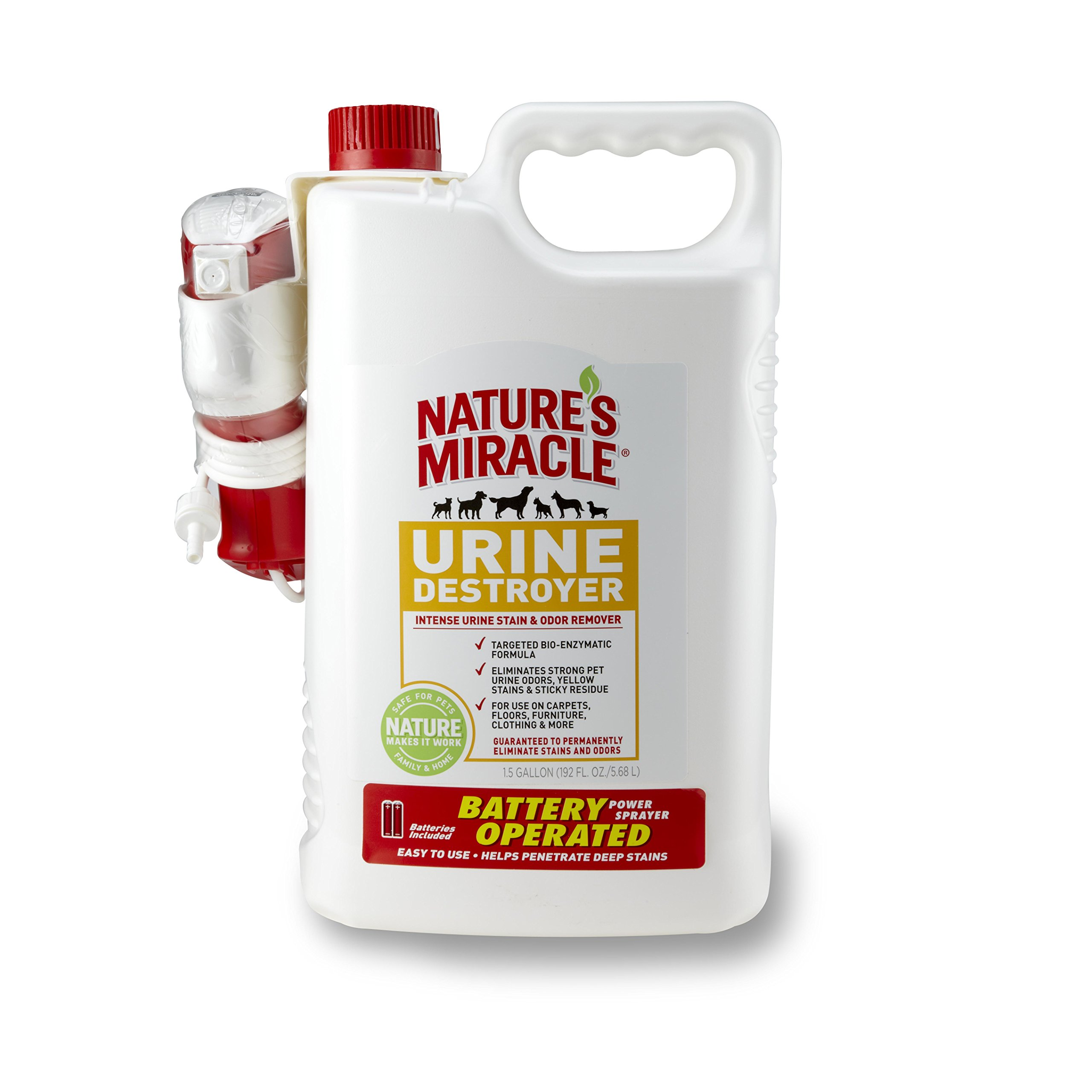 Nature's Miracle Stain & Odor Remover, Urine Destroyer, Power Sprayer w/Batteries, 1.5 Gallon (P-5788)