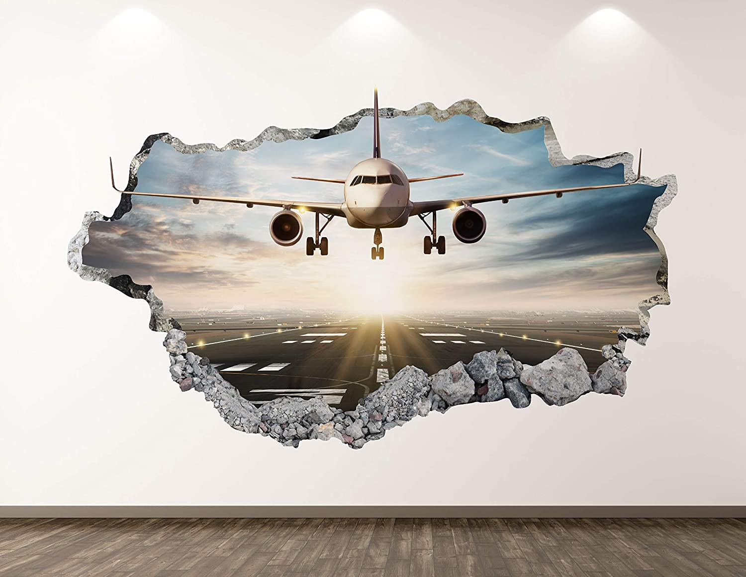 "West Mountain Landing Airplane Wall Decal Art Decor 3D Smashed Airport Plane Sticker Poster Kids Room Mural Custom Gift BL195 (22"" W x 14"" H)"