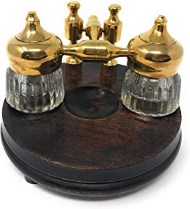 Madison Bay Co Double Clear Ribbed Inkwells with Wood and Brass Stand, Vintage Reproduction, 5 Inches Diameter