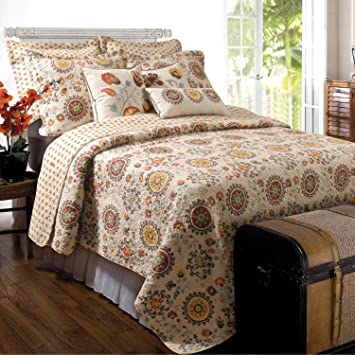 3 piece french country ivory brown quilt king set vintage bedding floral pattern medallions yellow